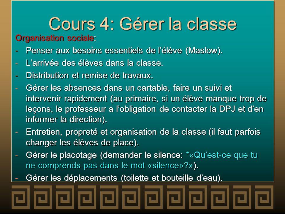 Cours 4: Gérer la classe Organisation sociale: