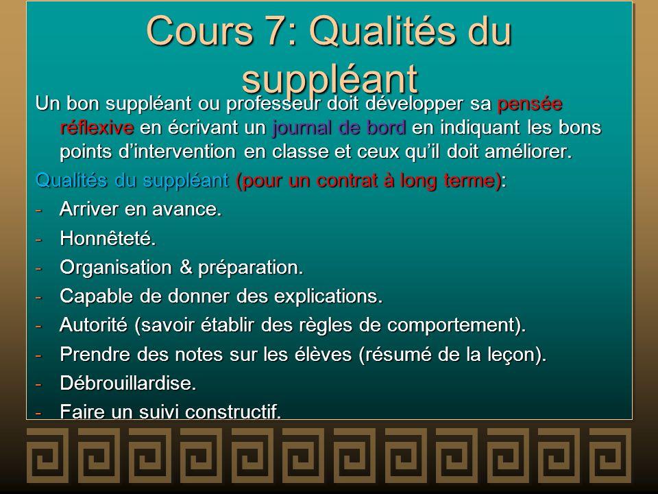 Cours 7: Qualités du suppléant