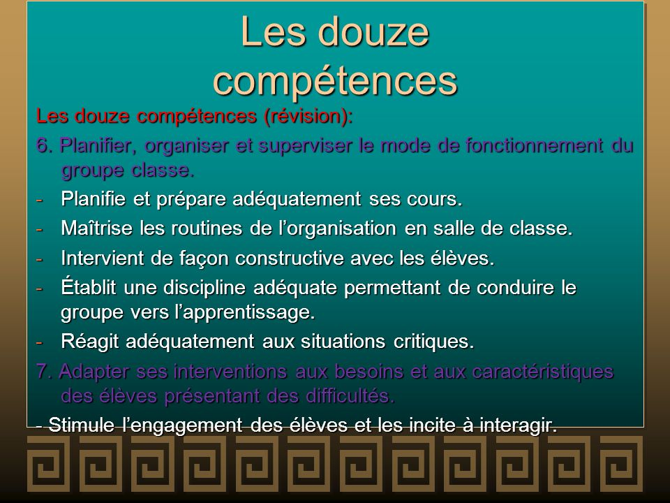 Les douze compétences Les douze compétences (révision):