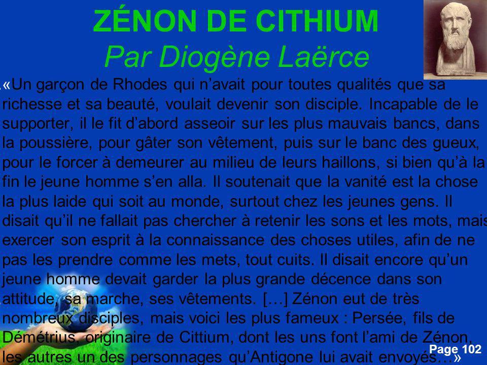 ZÉNON DE CITHIUM Par Diogène Laërce