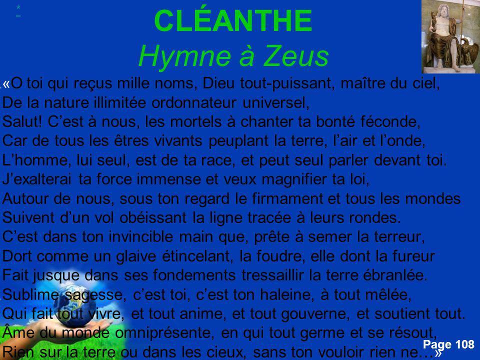 * CLÉANTHE Hymne à Zeus.