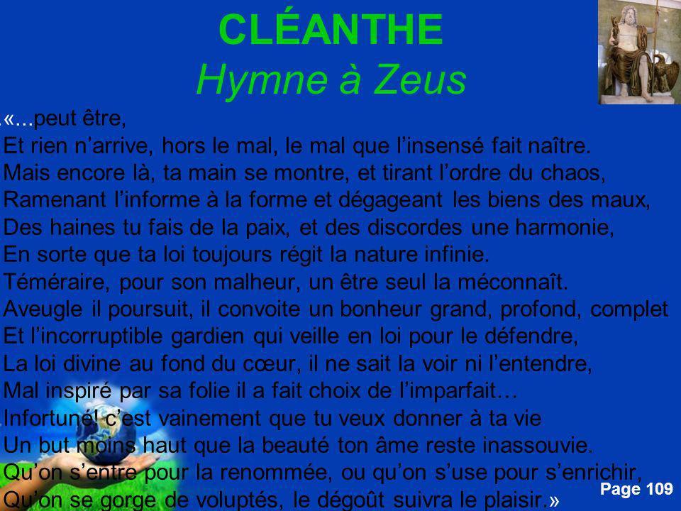 CLÉANTHE Hymne à Zeus
