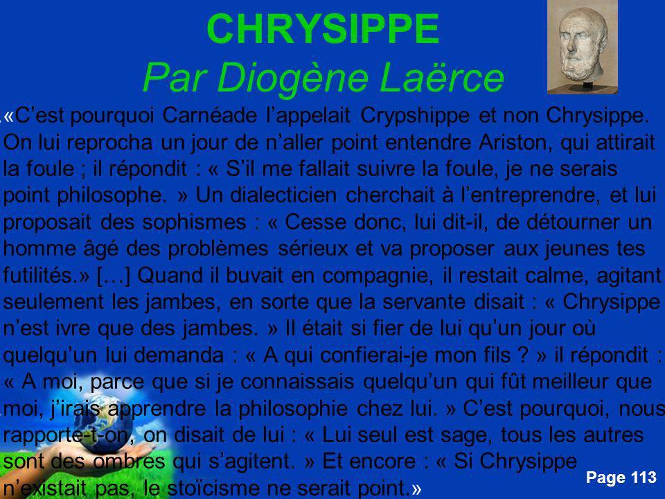 CHRYSIPPE Par Diogène Laërce