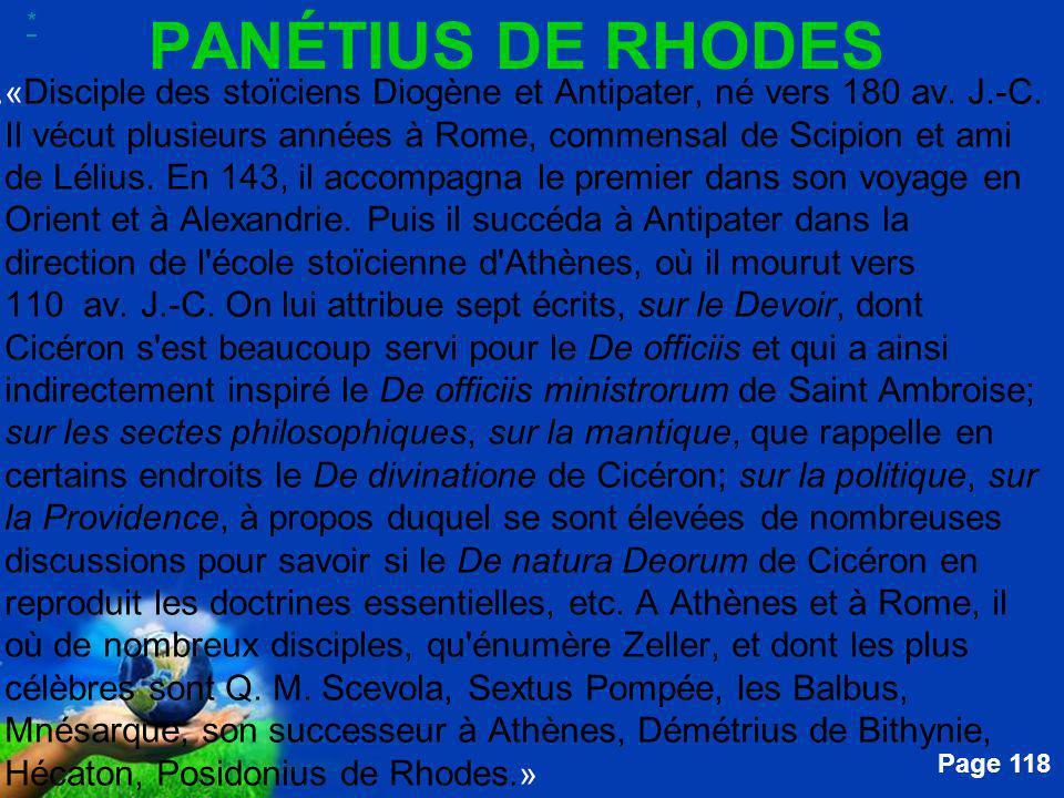 * PANÉTIUS DE RHODES.