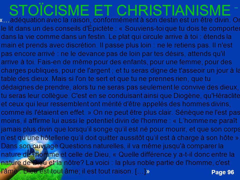 STOÏCISME ET CHRISTIANISME