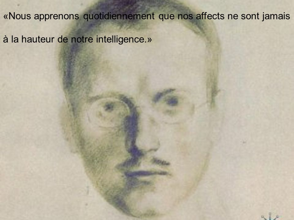 «Nous apprenons quotidiennement que nos affects ne sont jamais à la hauteur de notre intelligence.»
