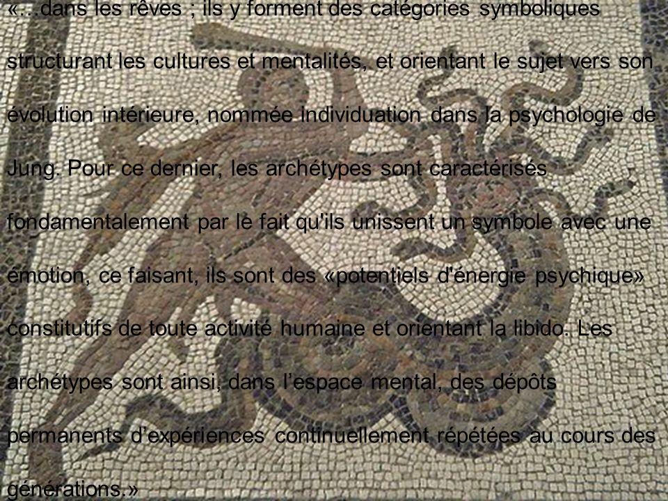 «…dans les rêves ; ils y forment des catégories symboliques structurant les cultures et mentalités, et orientant le sujet vers son évolution intérieure, nommée individuation dans la psychologie de Jung.