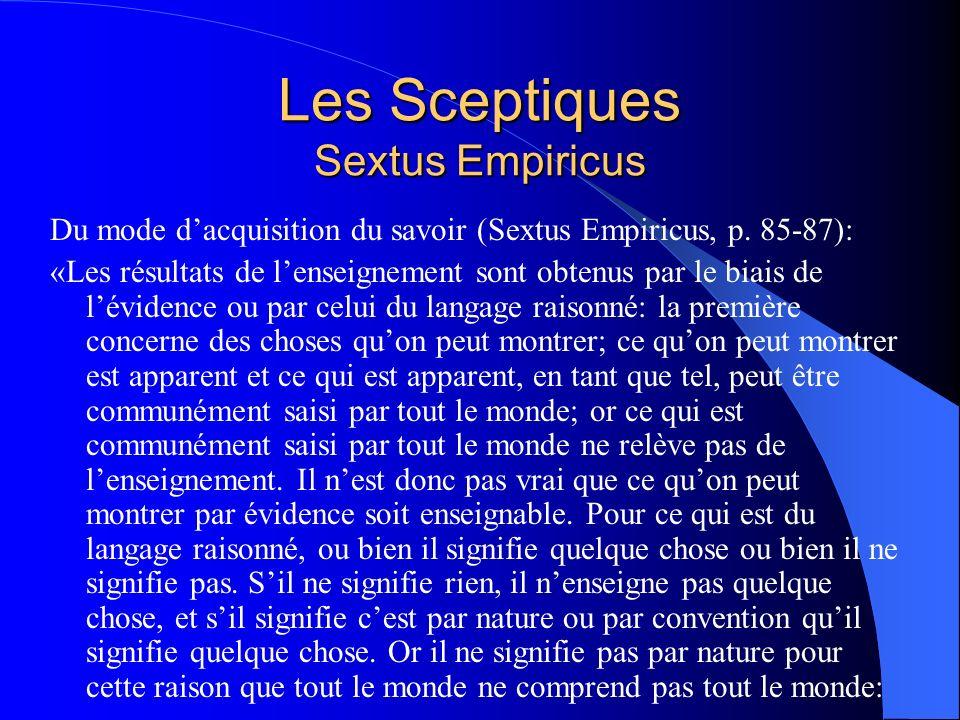 Les Sceptiques Sextus Empiricus