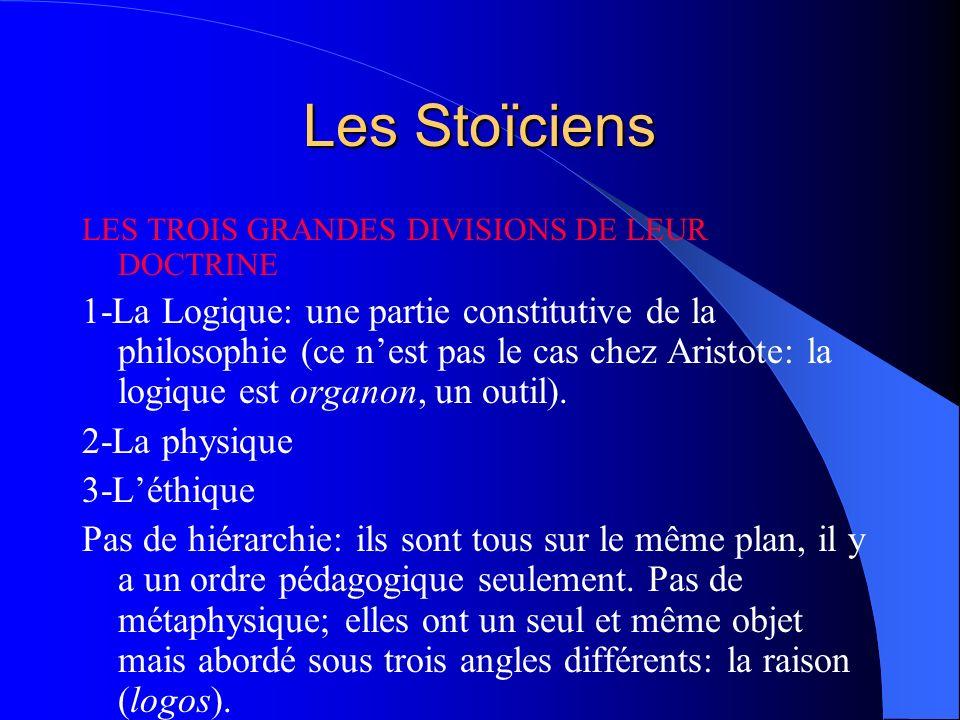 Les Stoïciens LES TROIS GRANDES DIVISIONS DE LEUR DOCTRINE.