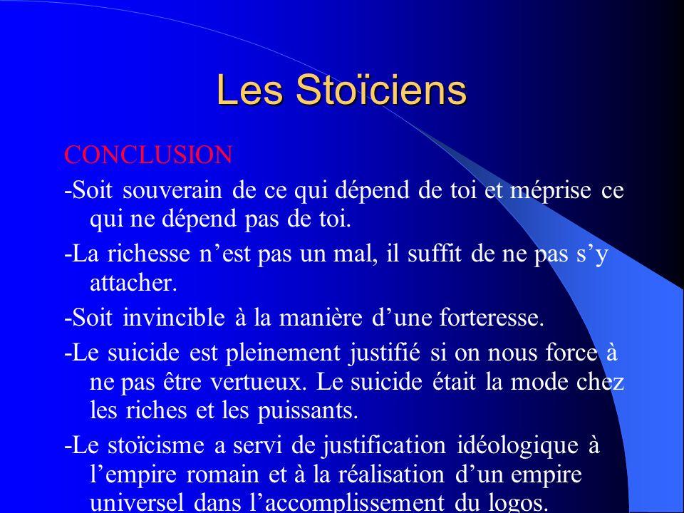 Les Stoïciens CONCLUSION