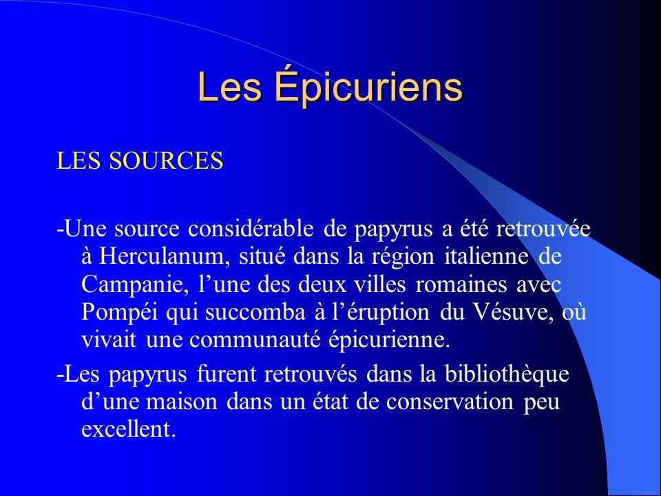Les Épicuriens LES SOURCES