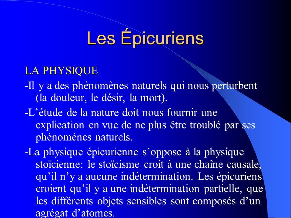 Les Épicuriens LA PHYSIQUE