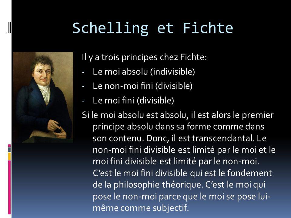 Schelling et Fichte Il y a trois principes chez Fichte:
