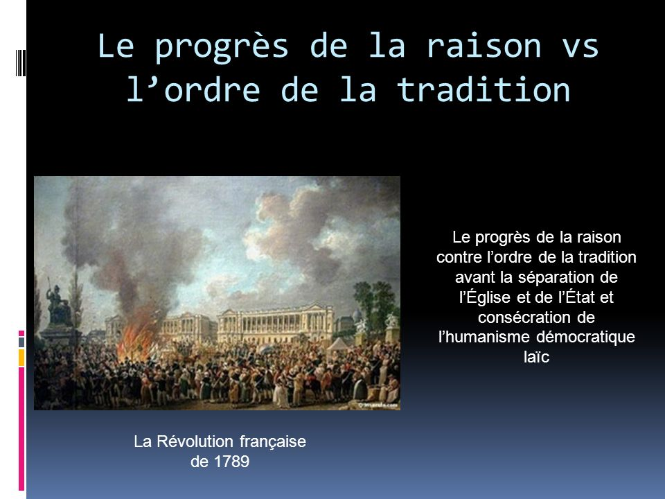 Le progrès de la raison vs l'ordre de la tradition