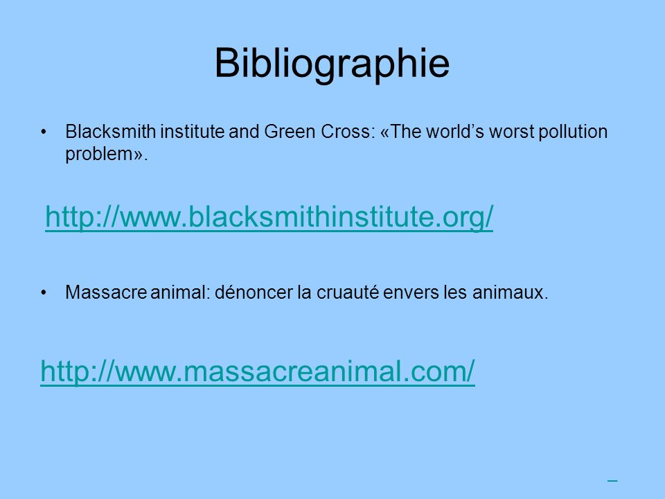 Bibliographie http://www.massacreanimal.com/