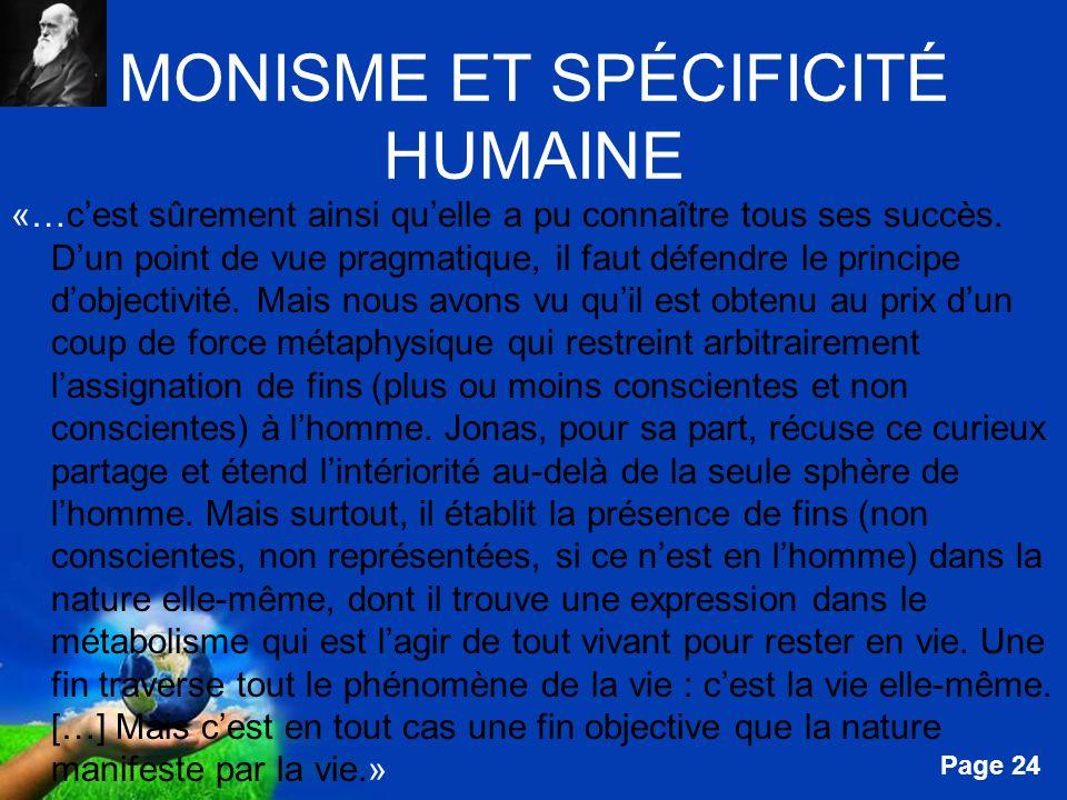 MONISME ET SPÉCIFICITÉ HUMAINE