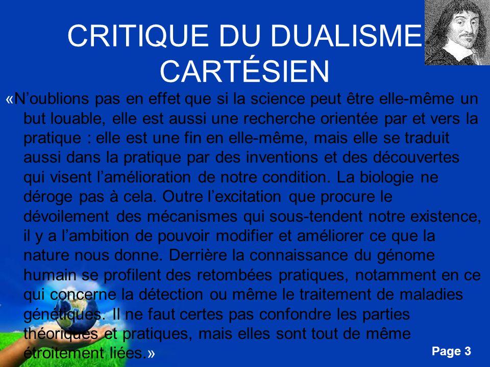 CRITIQUE DU DUALISME CARTÉSIEN