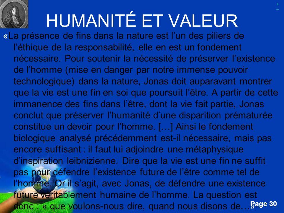 * HUMANITÉ ET VALEUR.