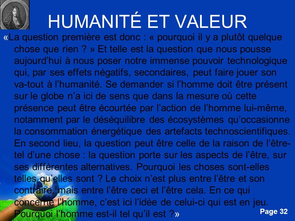 HUMANITÉ ET VALEUR