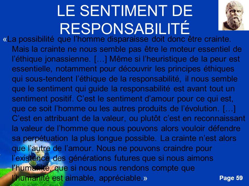LE SENTIMENT DE RESPONSABILITÉ
