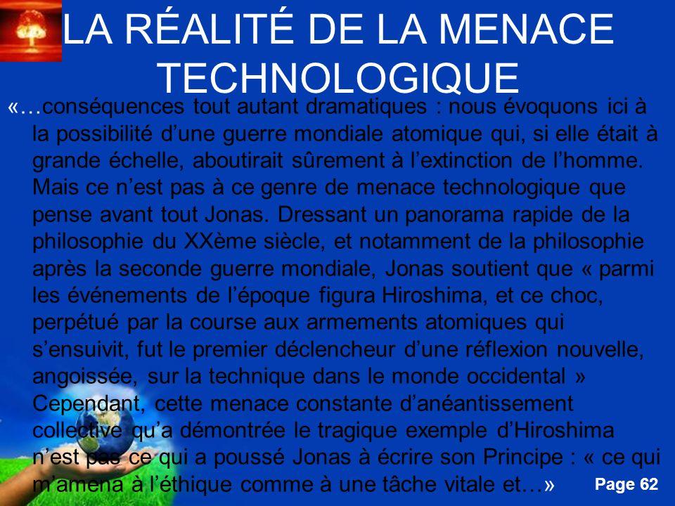 LA RÉALITÉ DE LA MENACE TECHNOLOGIQUE