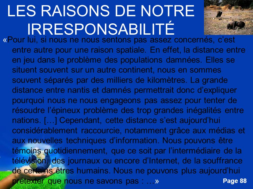 LES RAISONS DE NOTRE IRRESPONSABILITÉ