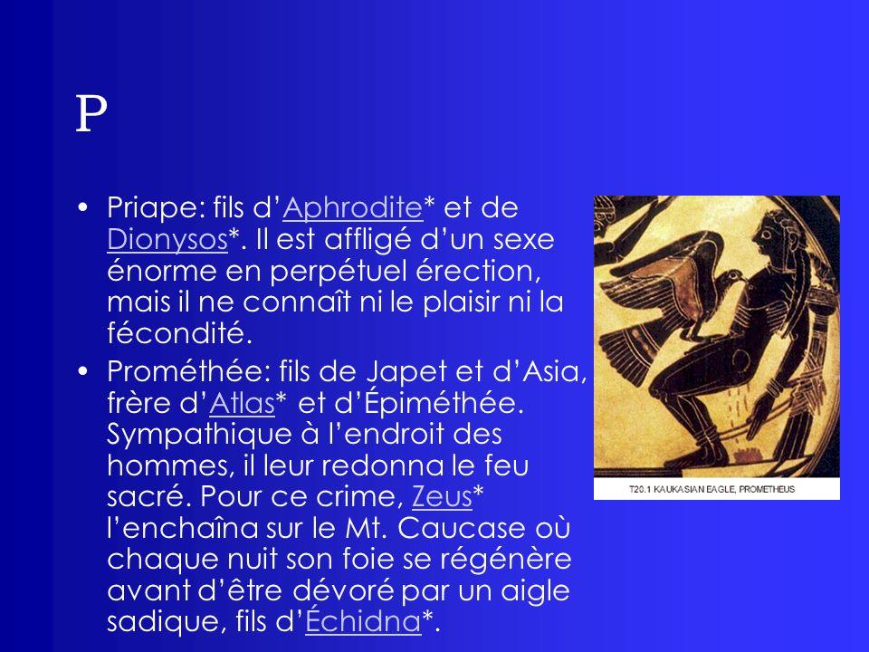P Priape: fils d'Aphrodite* et de Dionysos*. Il est affligé d'un sexe énorme en perpétuel érection, mais il ne connaît ni le plaisir ni la fécondité.
