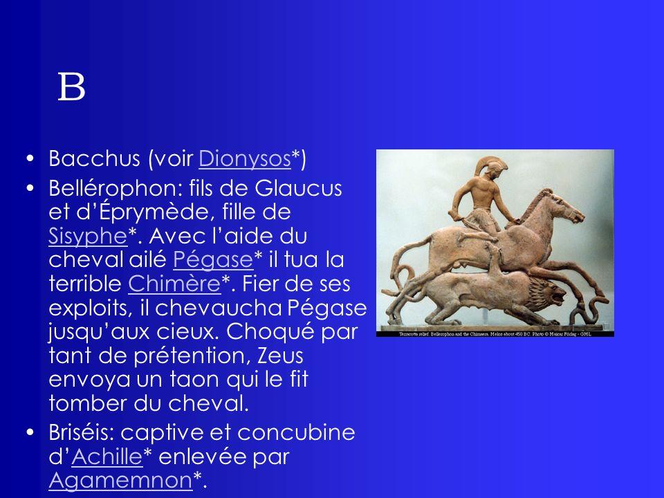 B Bacchus (voir Dionysos*)