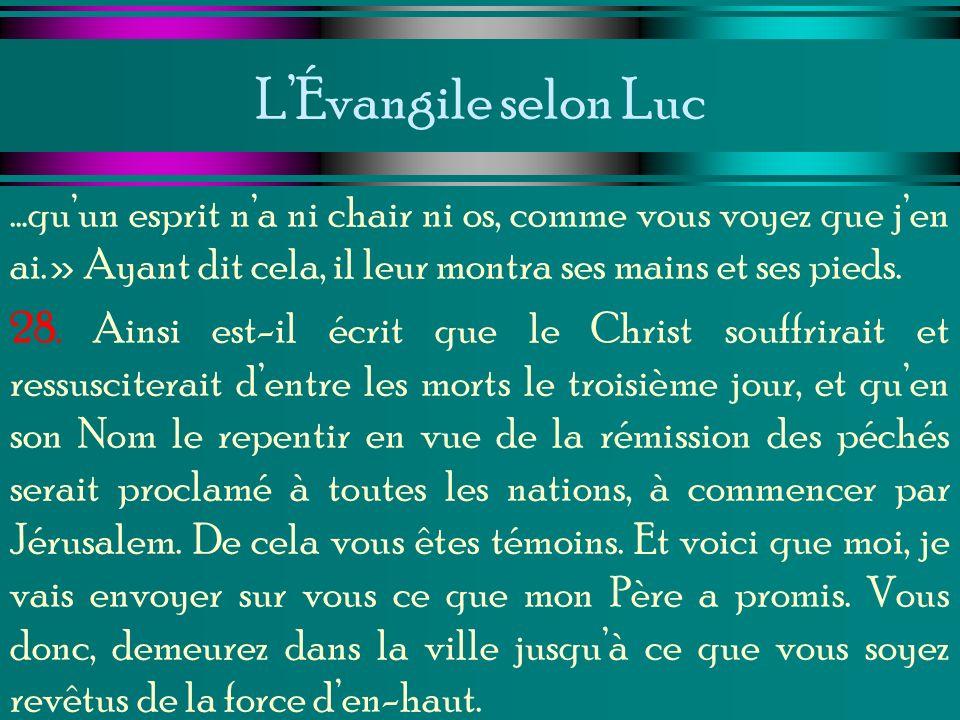 L'Évangile selon Luc …qu'un esprit n'a ni chair ni os, comme vous voyez que j'en ai.» Ayant dit cela, il leur montra ses mains et ses pieds.
