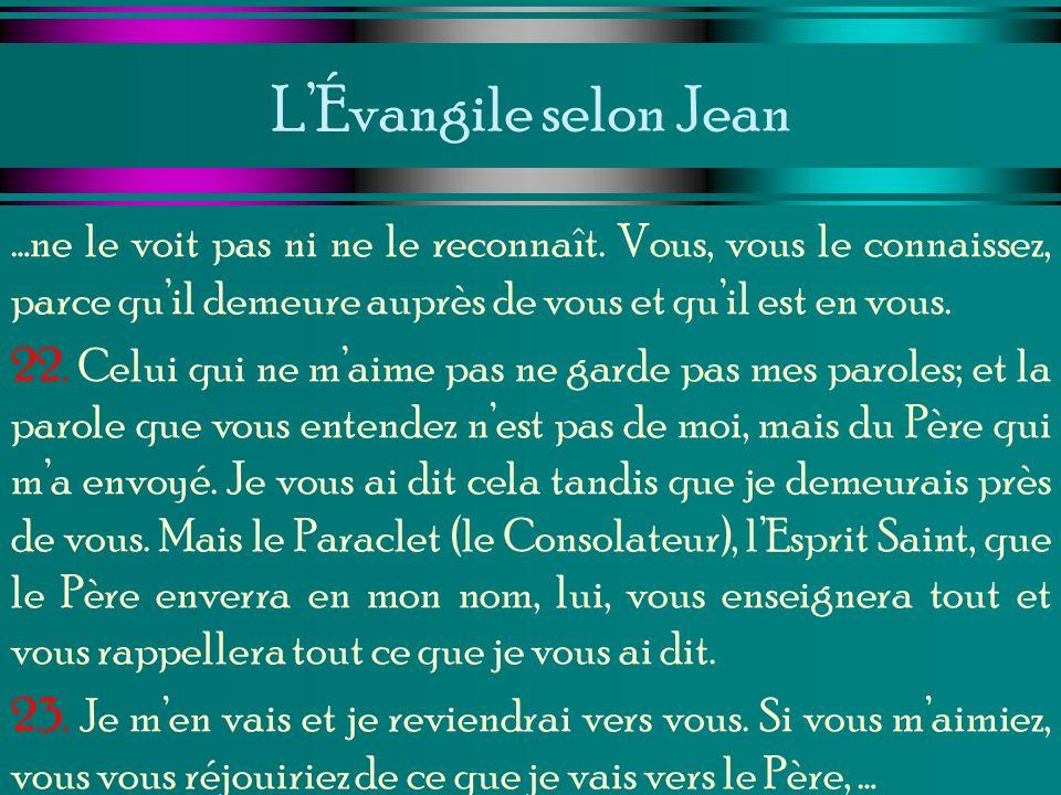 L'Évangile selon Jean …ne le voit pas ni ne le reconnaît. Vous, vous le connaissez, parce qu'il demeure auprès de vous et qu'il est en vous.