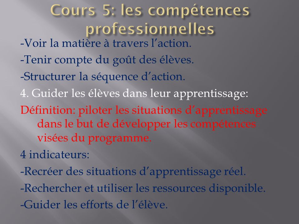 Cours 5: les compétences professionnelles