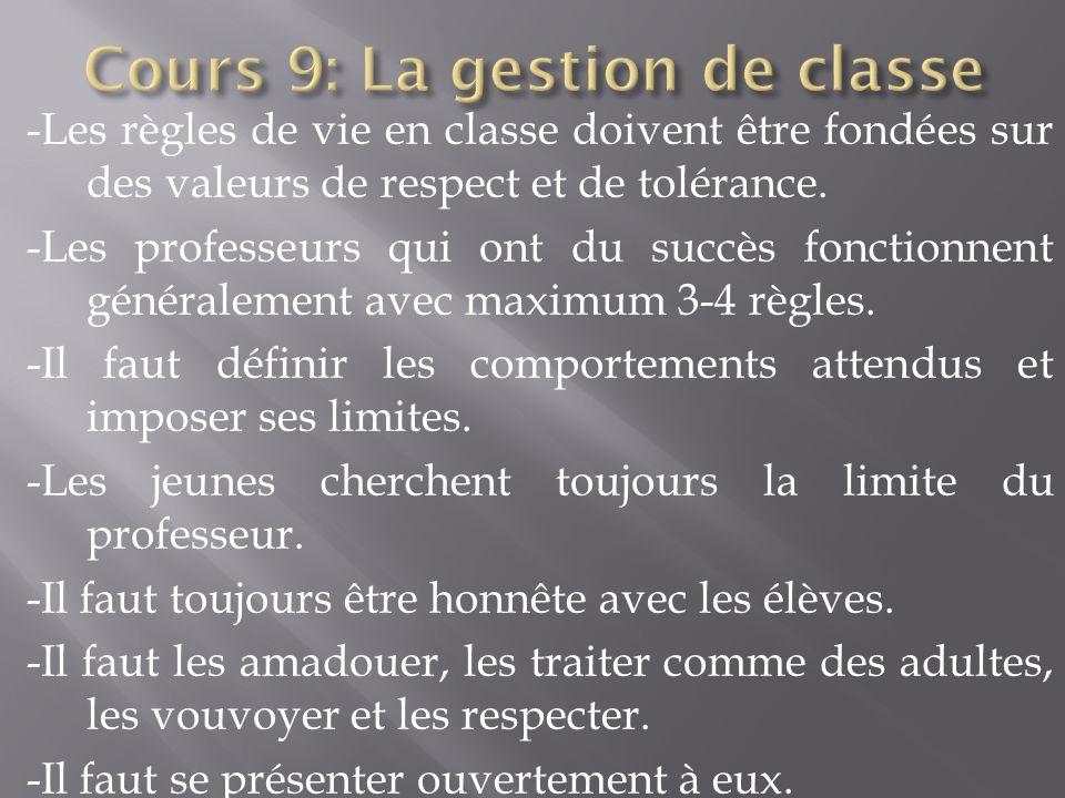 Cours 9: La gestion de classe