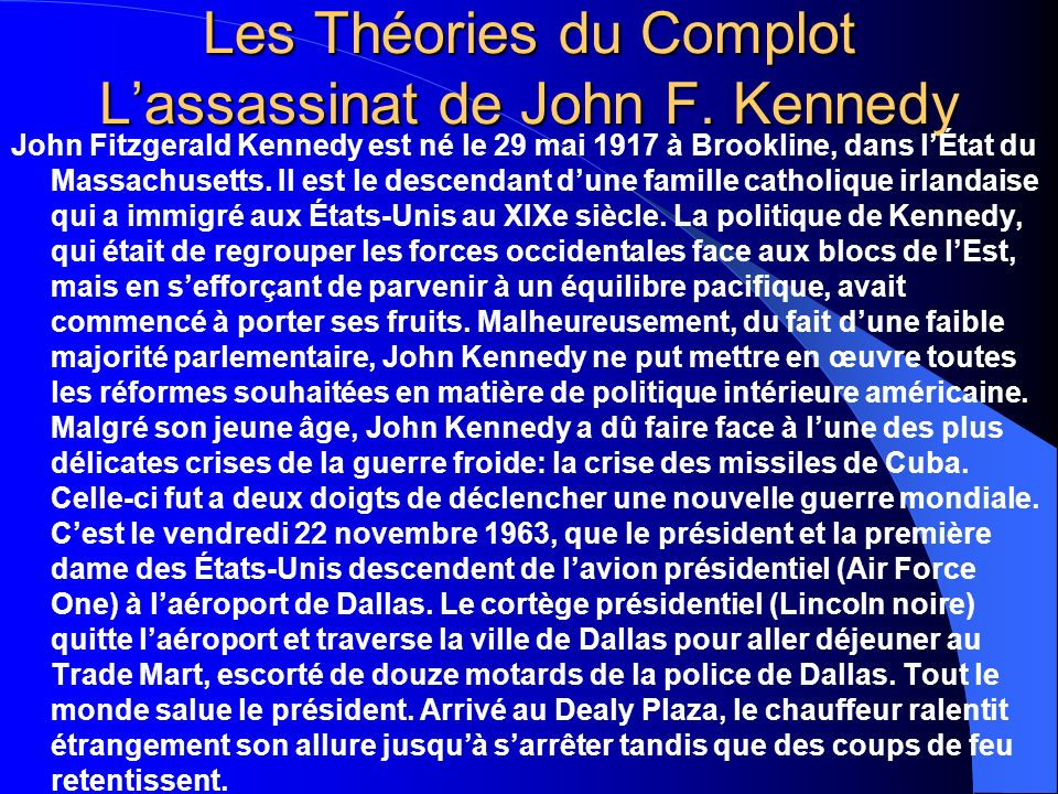 Les Théories du Complot L'assassinat de John F. Kennedy