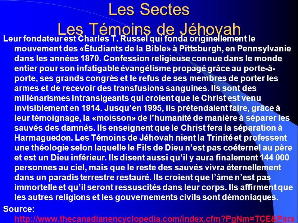 Les Sectes Les Témoins de Jéhovah
