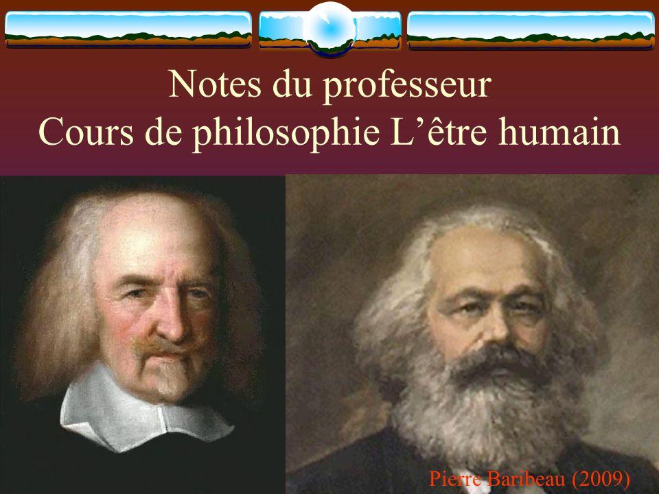 Notes du professeur Cours de philosophie L'être humain