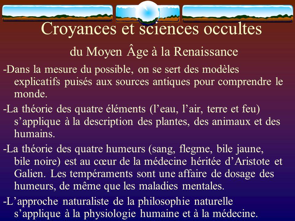 Croyances et sciences occultes du Moyen Âge à la Renaissance