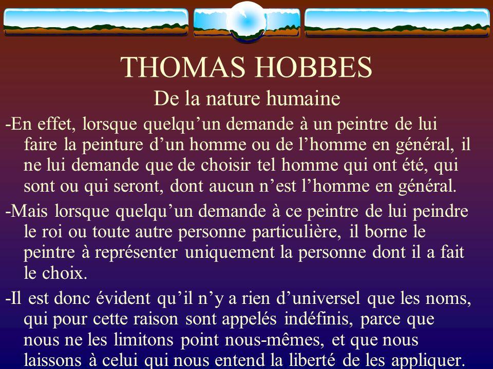 THOMAS HOBBES De la nature humaine