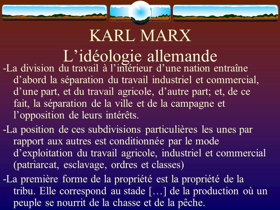 KARL MARX L'idéologie allemande