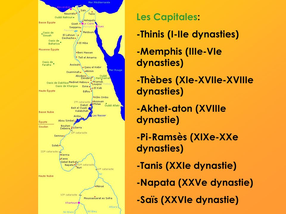 Les Capitales: -Thinis (I-IIe dynasties) -Memphis (IIIe-VIe dynasties) -Thèbes (XIe-XVIIe-XVIIIe dynasties)