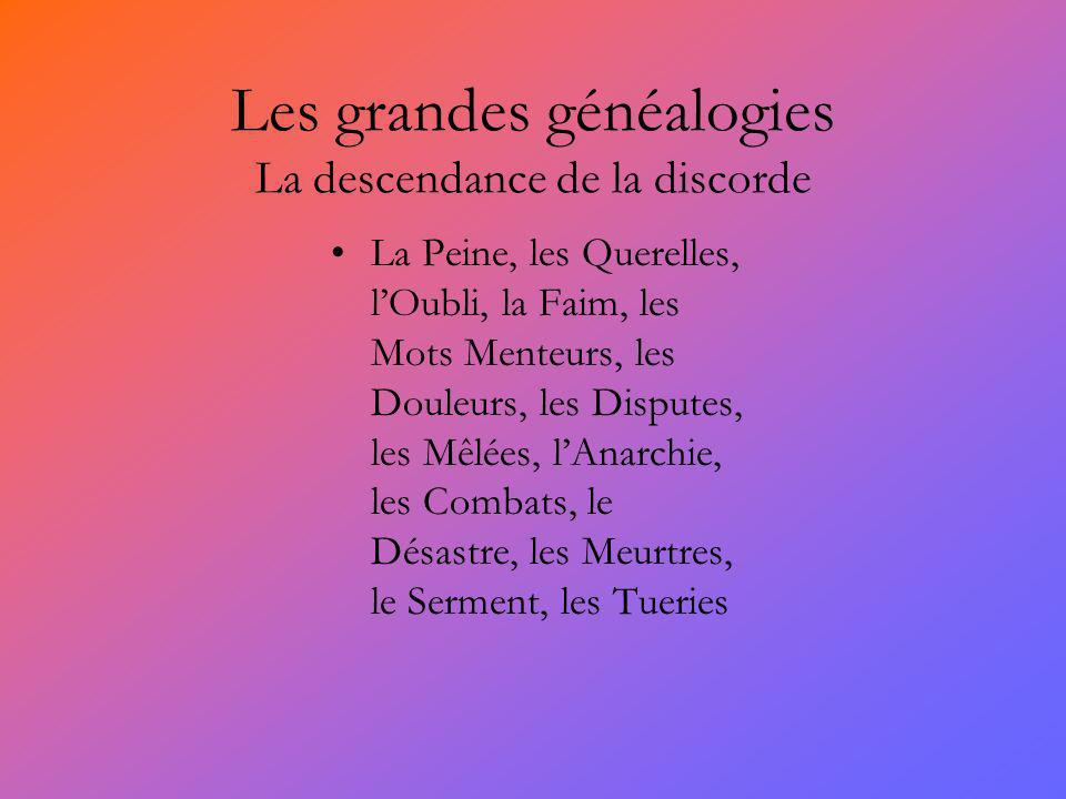 Les grandes généalogies La descendance de la discorde