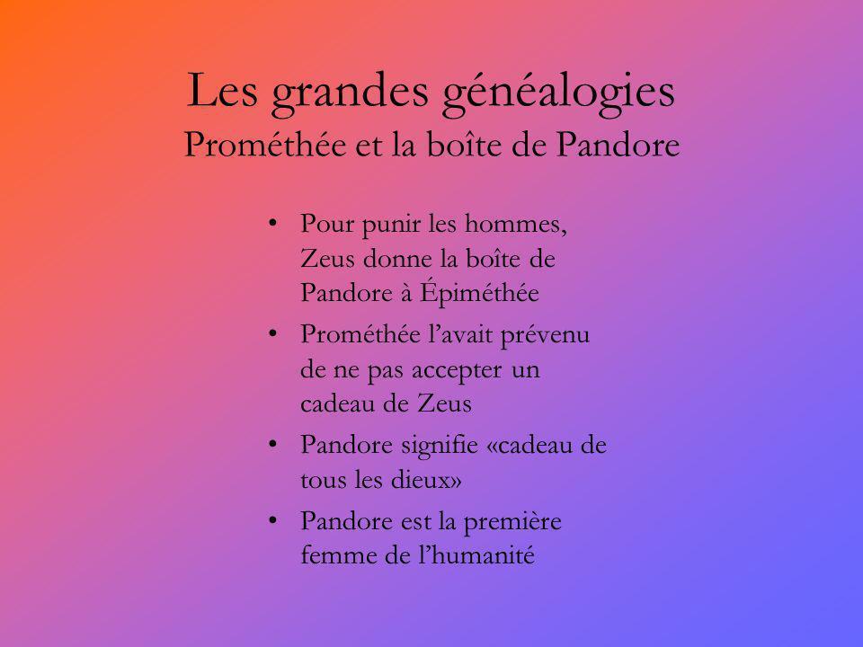 Les grandes généalogies Prométhée et la boîte de Pandore