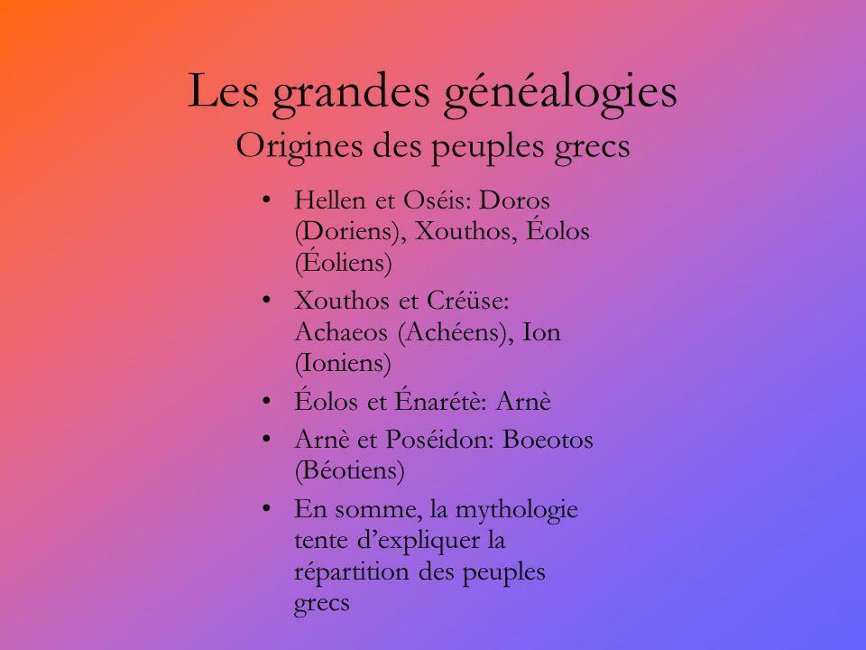 Les grandes généalogies Origines des peuples grecs