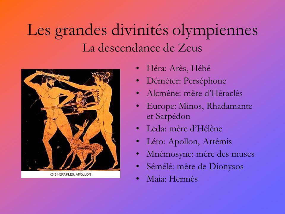 Les grandes divinités olympiennes La descendance de Zeus