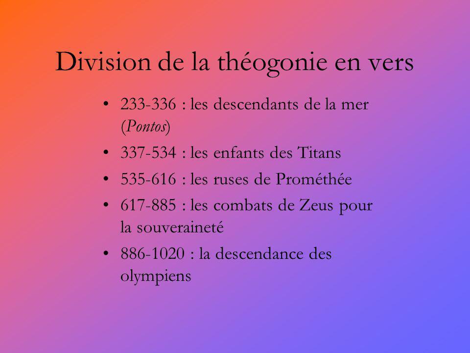 Division de la théogonie en vers