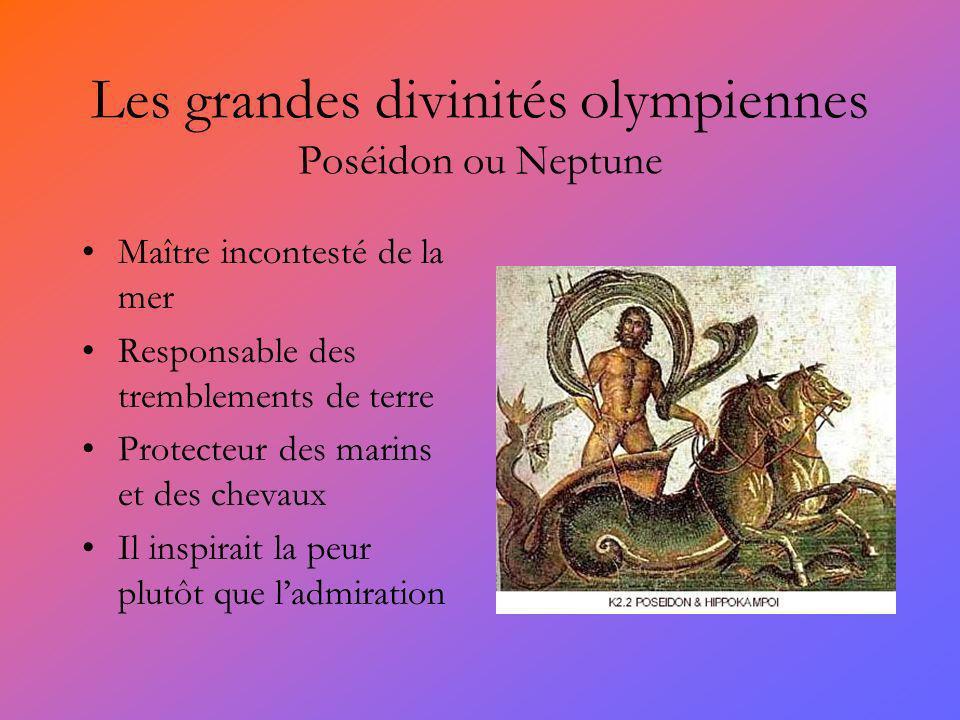 Les grandes divinités olympiennes Poséidon ou Neptune