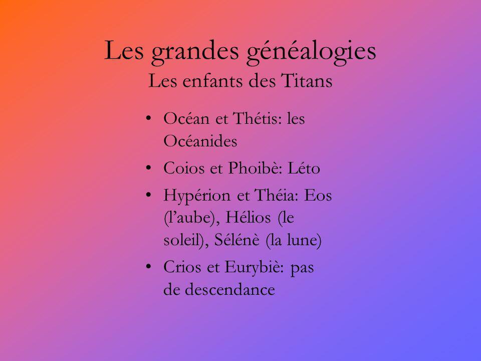 Les grandes généalogies Les enfants des Titans
