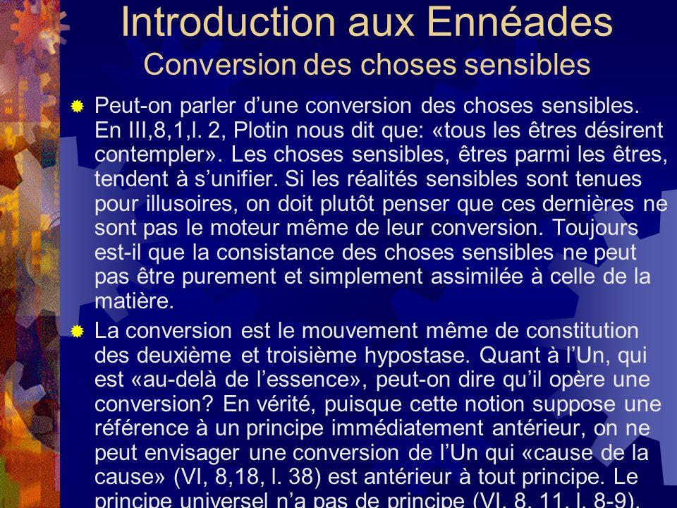 Introduction aux Ennéades Conversion des choses sensibles