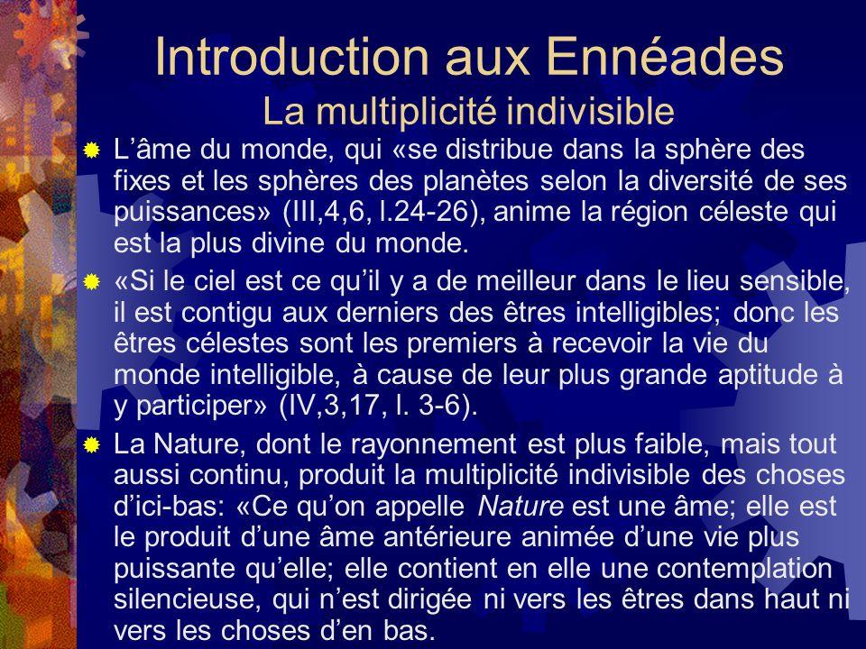 Introduction aux Ennéades La multiplicité indivisible