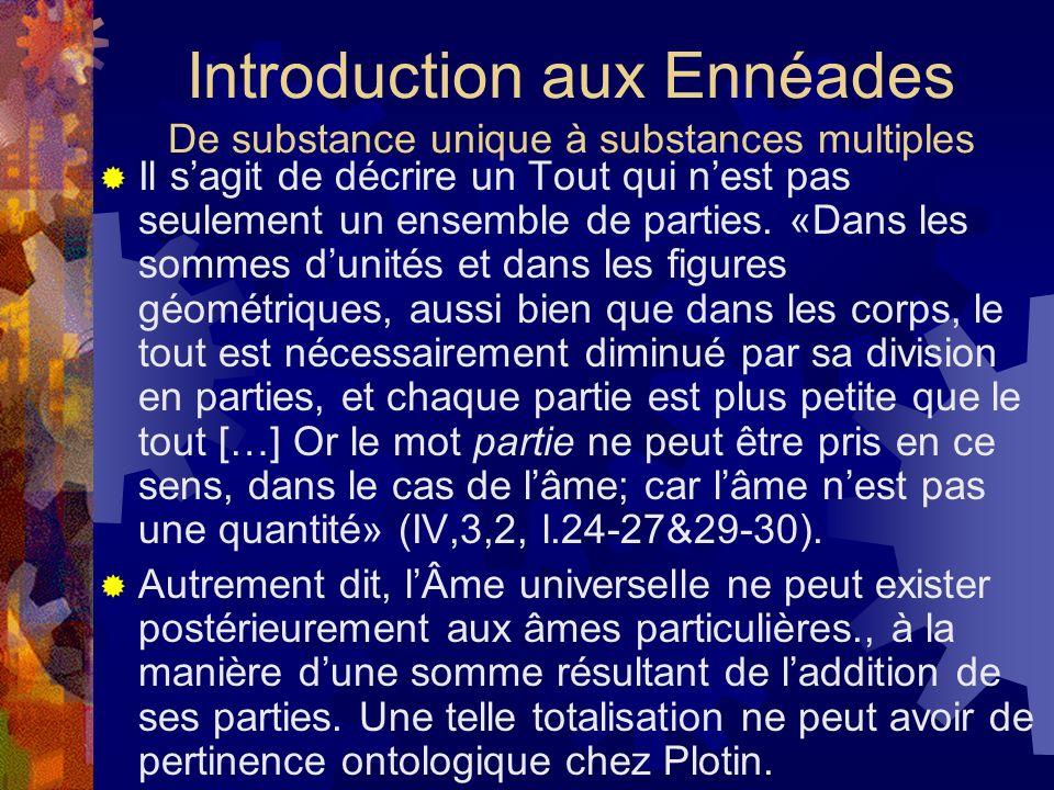 Introduction aux Ennéades De substance unique à substances multiples