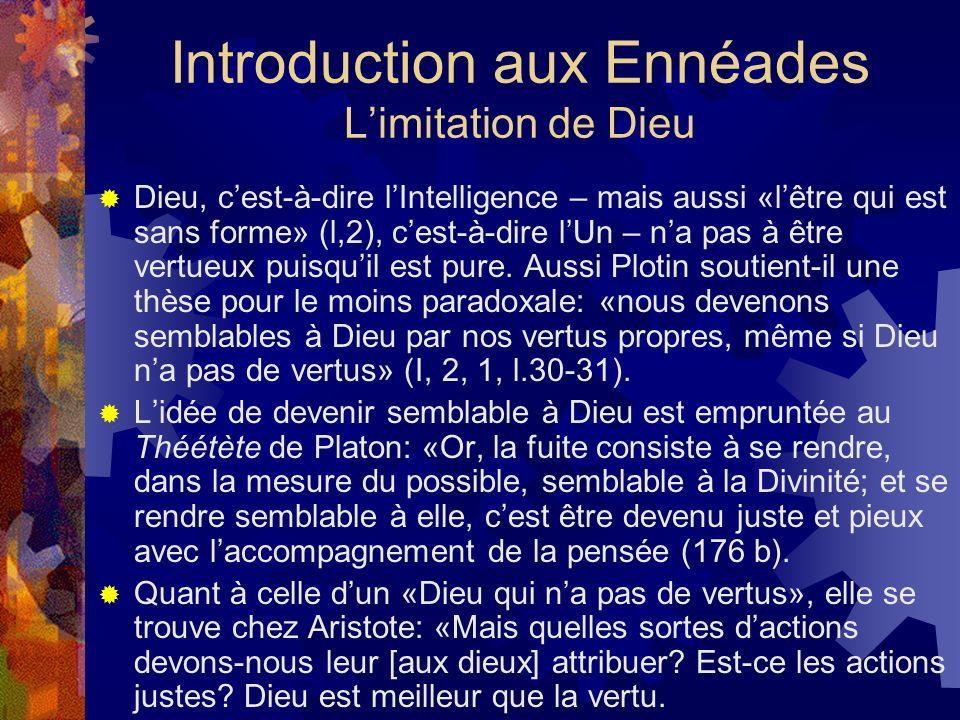 Introduction aux Ennéades L'imitation de Dieu